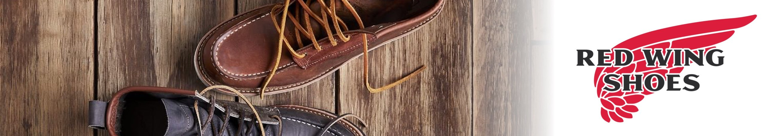 Red Wing Shoes logo with shoes