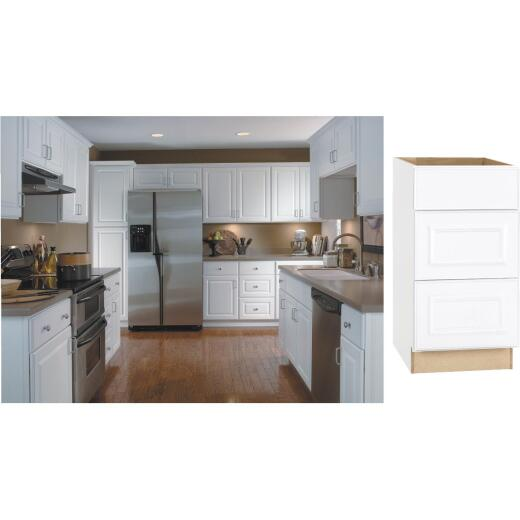 Continental Cabinets Hamilton 18 In. W x 34-1/2 In. H x 24 In. D Satin White Maple Drawer Base Kitchen Cabinet