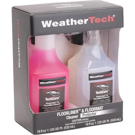 WeatherTech TechCare 18 Oz. Liquid Floorliner & Floormat Auto Interior Cleaner and 18 Oz. Liquid Protector Kit (2-Pack)