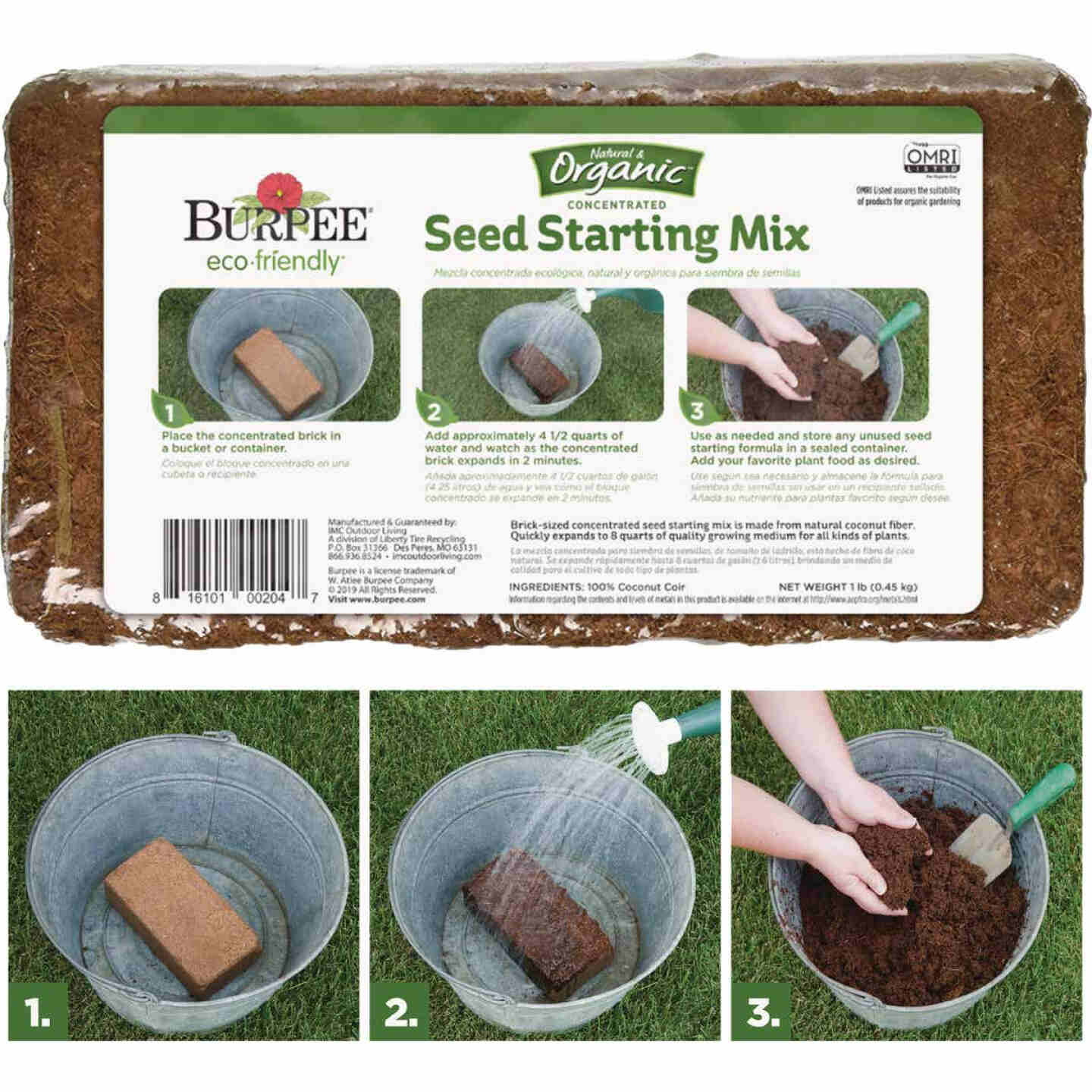 Burpee 8 Qt. 1-1/2 Lb. Concentrated Brick In-Ground Organic Seed Starting Mix Image 5