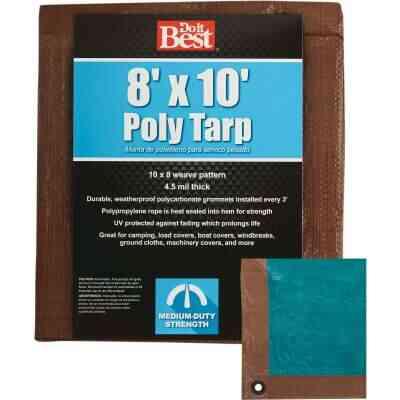 Do it Best 1 Side Green/1 Side Brown Woven 8 Ft. x 10 Ft. Medium Duty Poly Tarp